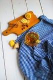 Cinger herbata z cytryną i cynamonem Zdjęcie Stock