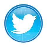 Cinguetta il bottone rotondo blu floreale dell'icona dell'uccello illustrazione di stock