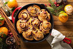 Cinnabon buns with cranberry and orange glaze Royalty Free Stock Image