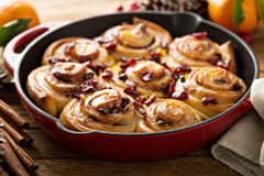 Cinnabon buns with cranberry and orange glaze Stock Images