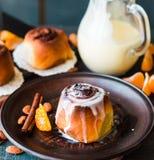 Cinnabon cinnamon buns with cream and cheese sauce Stock Photo