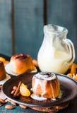 Cinnabon cinnamon buns with cream and cheese sauce Stock Photography