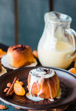 Cinnabon cinnamon buns with cream and cheese sauce Royalty Free Stock Photography