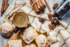 Cinnabon cinnamon and cream for tea. Selective focus Stock Photography