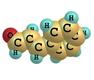 Cinnamaldehyde molecule isolated on white Royalty Free Stock Images