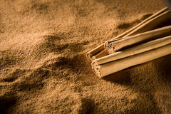 Cinnamon. Sticks laying on background of powder Stock Image