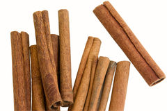 Cinnamon. Some sticks of cinnamon isolated on white background Royalty Free Stock Photo