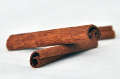 Cinnamon. Two pieces of cinnamon against white background Stock Images