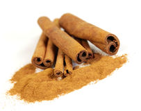 Cinnamon. Isolated on white background Royalty Free Stock Image