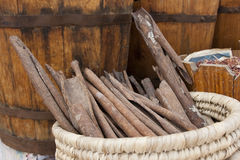 Cinnamon. In a basket on a market in Egypt Stock Photo