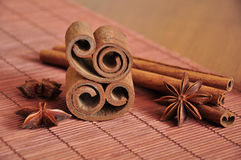 Cinnamon. Sticks and anise composition Royalty Free Stock Photography