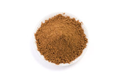 Cinnamon. Grounded cinnamon on bowl isolated on white background. Clipping Path stock images