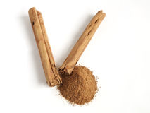 Cinnamon. Sticks and  in powder Royalty Free Stock Photography