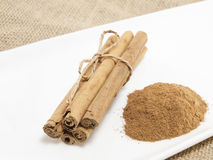 Cinnamon. Sticks and  in powder Royalty Free Stock Images