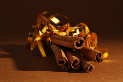 Cinnamon. Five brunches of christmas cinnamon stock photography