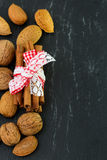 Cinnamon with almonds Royalty Free Stock Photos