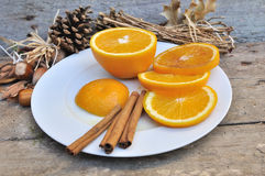 Cinnamon And Orange Royalty Free Stock Images