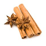 Cinnamon and anice isolated Stock Image