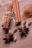 Cinnamon, Anis, Cardamom Stock Photos