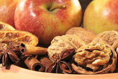 Cinnamon, anis, nuts anapples Christmassy Royalty Free Stock Photography