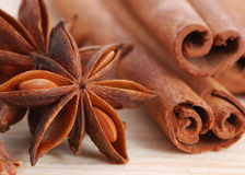 Cinnamon and anise Stock Photos