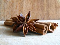 Cinnamon & Anise. Photo of cinnamon stick and anise on wooden background Stock Image