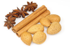 Cinnamon - anise - almonds Royalty Free Stock Images