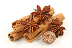 Cinnamon,anise And Nutmeg Royalty Free Stock Photography