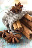 Cinnamon and anise in the burlap sack Royalty Free Stock Images