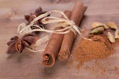 Cinnamon, anise, cardamom Stock Image