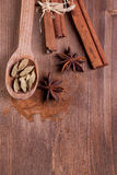 Cinnamon, anise, cardamom Royalty Free Stock Photography