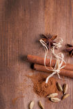 Cinnamon, Anise, Cardamom As Background Royalty Free Stock Photo