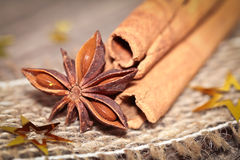 Cinnamon and anise Stock Photography