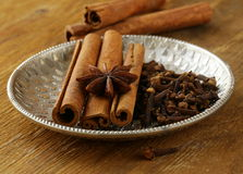 Cinnamon, anise and clove Royalty Free Stock Photo