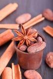 Cinnamon anise and cocoa Stock Photo