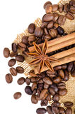 Cinnamon, anise and coffee beans Stock Photography