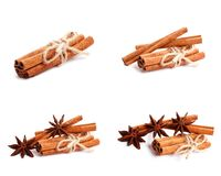 Cinnamon and anise isolated on white background royalty free stock image