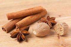 Cinnamon,anise and nutmeg Stock Photos