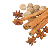 Cinnamon, anise and nutmeg close up Stock Image