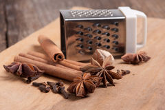 Cinnamon anise nutmeg cloves Stock Photo