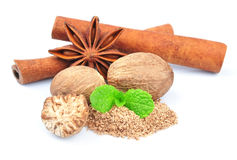 Cinnamon, anise, nutmeg. Royalty Free Stock Photo