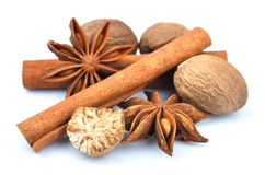 Cinnamon, anise, nutmeg. Royalty Free Stock Image