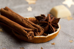 Cinnamon, anise, orange Stock Photography