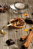 Cinnamon, anise, orange and chocolate Royalty Free Stock Images