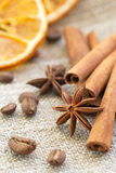 Cinnamon, anise, orange and nuts Stock Photo
