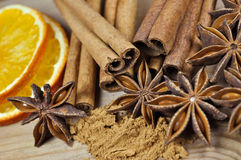 Cinnamon, anise and slices of dried orange Royalty Free Stock Images