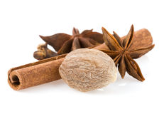 Cinnamon, anise star and nutmeg Royalty Free Stock Photo