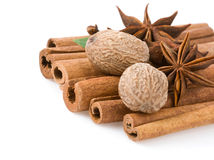 Cinnamon, anise star and nutmeg Stock Photos