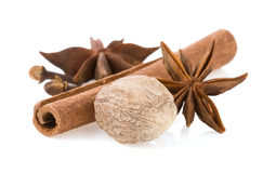 Cinnamon, anise star and nutmeg Stock Photo