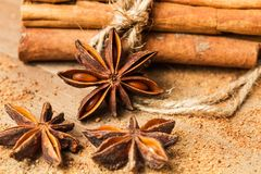 Cinnamon and anise. Cinnamon stick and anise stars royalty free stock photography
